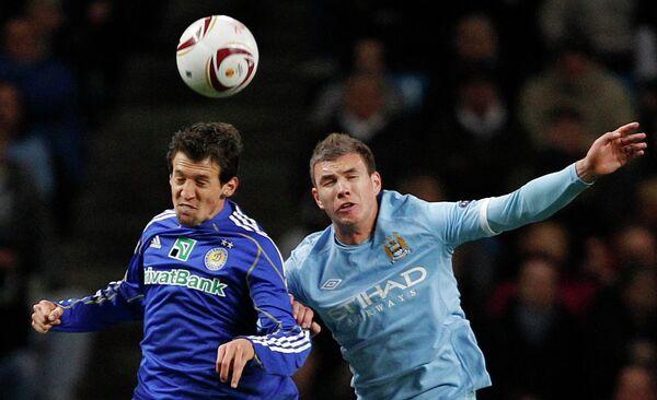 Игровой момент матча Манчестер Сити - Динамо (Киев)