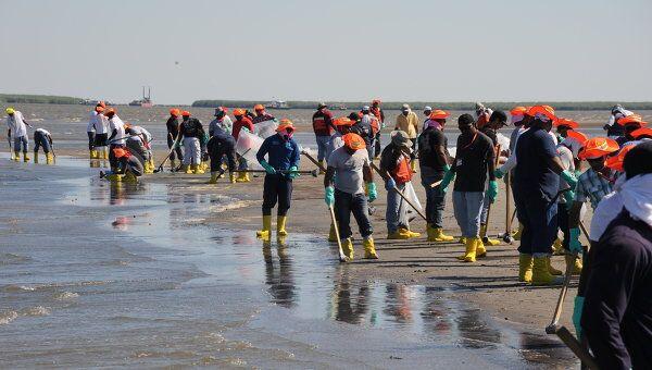 Очистка от нефти побережья Мексиканского залива. Архив