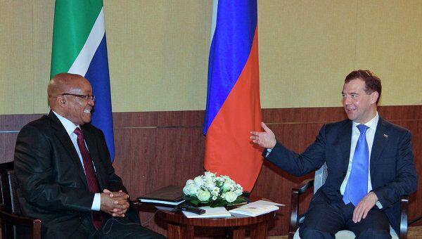 Президент РФ Д.Медведев встретился с президентом ЮАР Д.Зумой