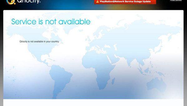 Скриншот сайта Qriocity который был подвергнут хакерской атаке