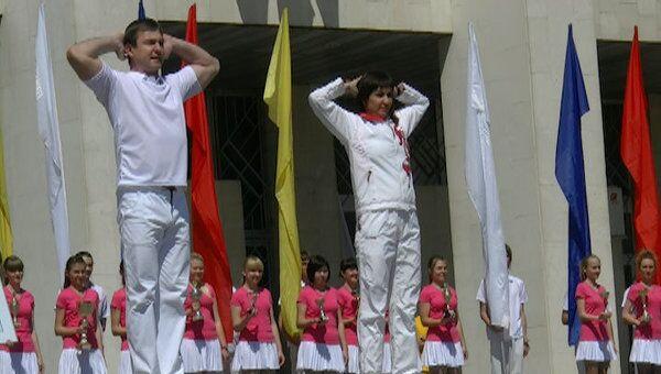 Олимпийская чемпионка Татьяна Лебедева провела зарядку для 1500 человек