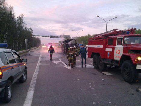 ДТП в в Ступинском районе Подмосковья с участием автобуса и грузового автомобиля