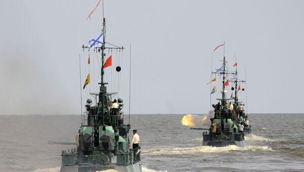 Учения на Каспийской флотилии. Архив
