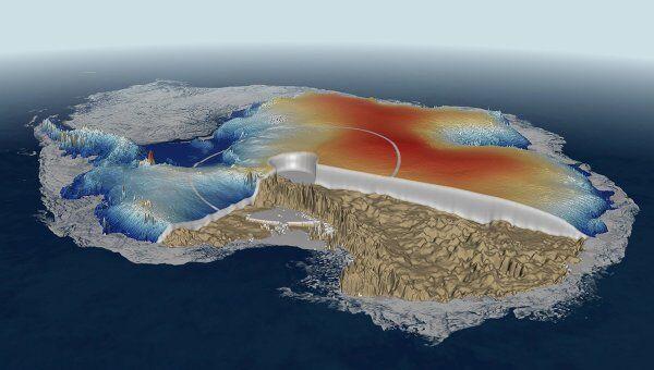 Карта ледового покрова Антарктиды, составленная Cryosat-2