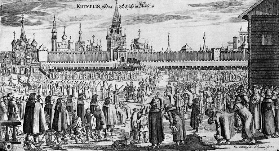 Фрагмент гравюры Шествие на осляти из книги Адама Олеария Путешествие в Московию
