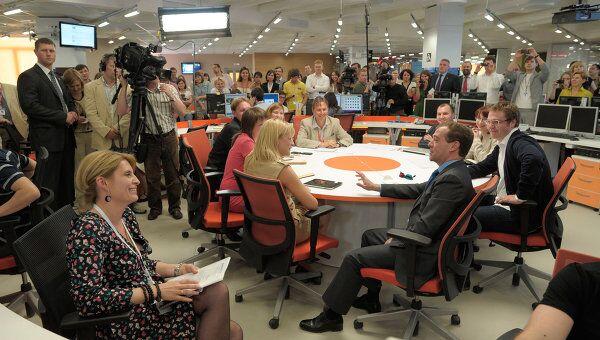Президент РФ Дмитрий Медведев посещает агентство РИА Новости