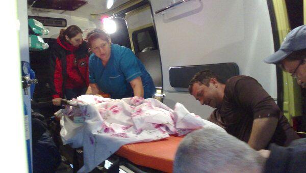 Транспортировка детей, раненных при взрыве газа во Владикавказе