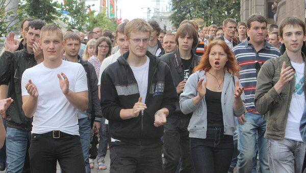 Несанкционированная акция протеста движения Революция через социальные сети в Минске