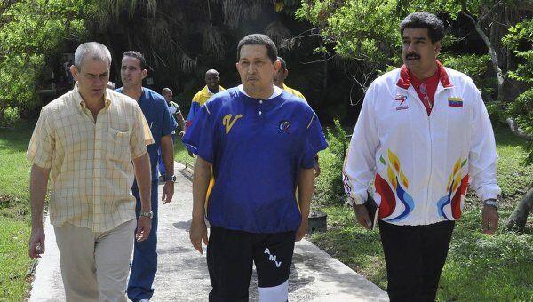 Уго Чавес во время прогулки на Кубе