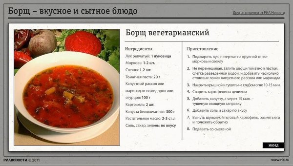Борщ - вкусное и сытное блюдо
