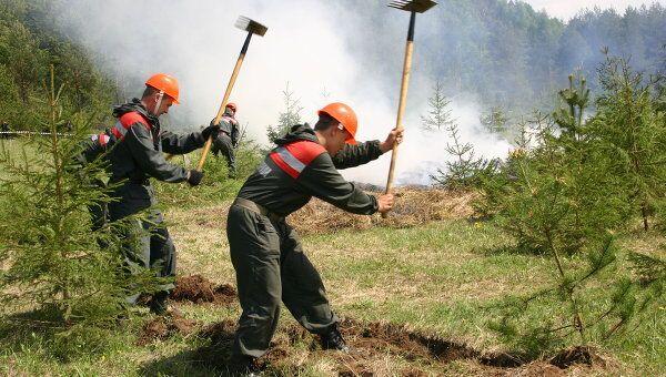Авиалесоохрана во время тушения лесного пожара. Архив