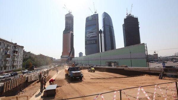 Строительство автомагистрали рядом с ММДЦ Москва-СИТИ. Архив
