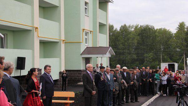 Вручение ключей от новых домов погорельцам поселка Урман, Башкирия