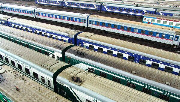 Поезда дальнего следования на запасных путях. Архивное фото