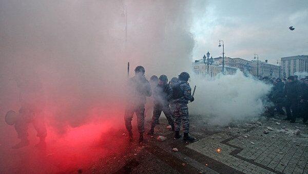 Митинг фанатов на Манежной площади в Москве