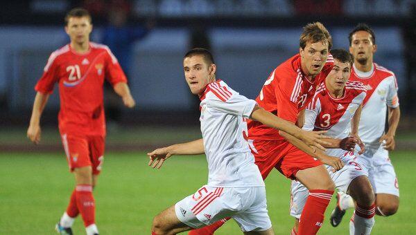 Игровой момент матча между второй и молодежной сборными России