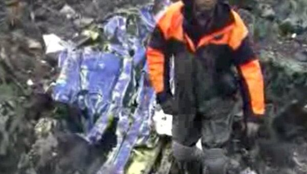 Видео с места крушения самолета Ан-12 в Магаданской области