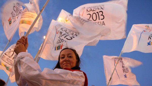 Церемония встречи флага Универсиады в Казани