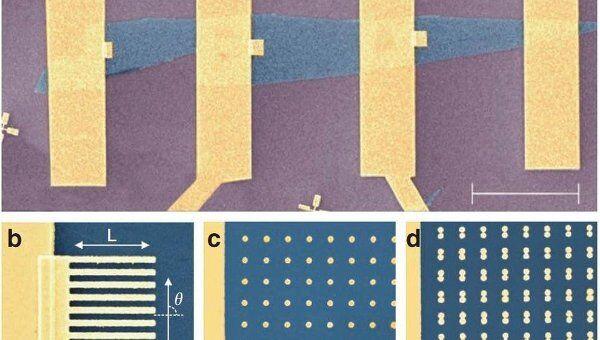 Графен на кремниевой подложке и золотые полоски на его поверхности.