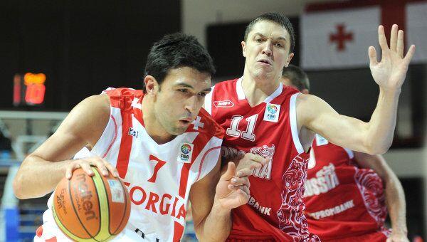 Игровой момент матча Грузия - Россия