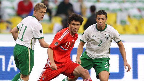 Игровой момент матча Россия – Ирландия