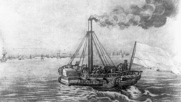Репродукция гравюры Первый русский пароход Елизавета на линии Петербург-Кронштадт в ноябре 1815 года