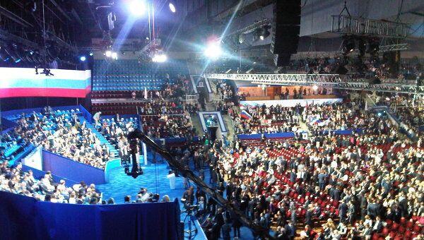 На съезде Единой России в Лужниках