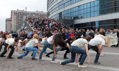 Акция поклонников певицы Бритни Спирс в Санкт-Петербурге