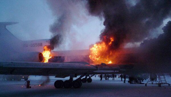 Пожар на борту самолета Ту-154 в аэропорту Сургута в январе 2011 года