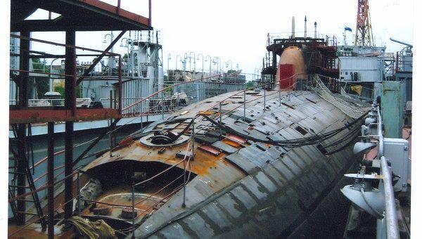 К-152 Нерпа стоит на стапеле Амурского судостроительного завода