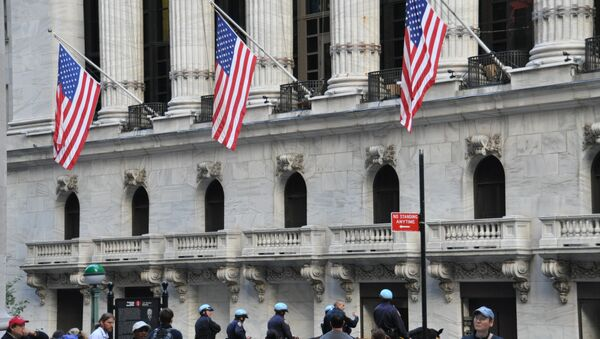 Конный конвой у Нью-Йоркской фондовой биржи. Архивное фото