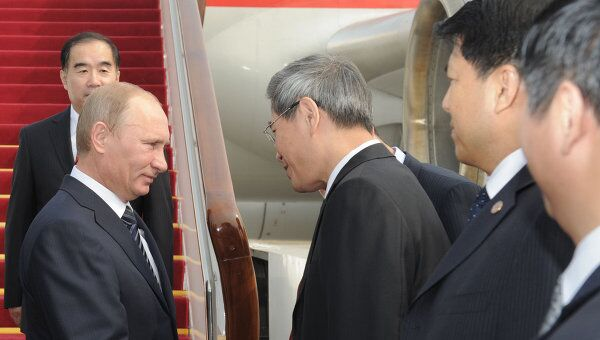 Премьер-министр РФ В.Путин прибыл с рабочим визитом в КНР