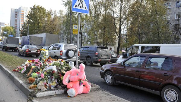 Место ДТП в Брянске, где погибла трехлетняя Соня Сивакова