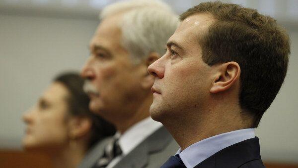 Президент РФ Д.Медведев приехал на регистрацию списка Единой России в ЦИК России