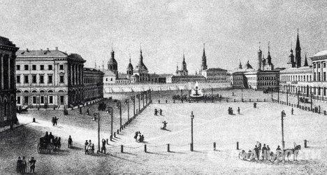 Репродукция литографии  Вид Театральной площади от Большого театра