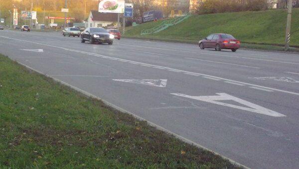 Выделенная полоса для общественного транспорта на западе Москвы
