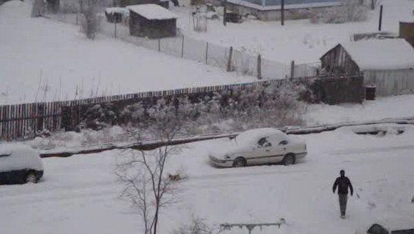 В поселок Ливадия в Приморском крае пришла настоящая зима