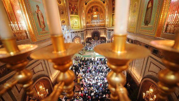 Праздничное богослужение в храме Христа Спасителя. Архивное фото