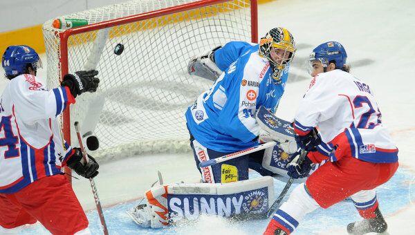 Игровой момент матча Чехия - Финляндия