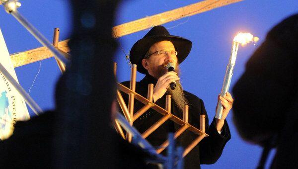 Торжественная церемония зажигания ханукальных свечей