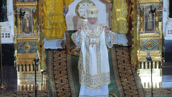 Патриарх Кирилл провел рождественскую службу в храме Христа Спасителя