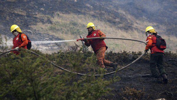 Пожарные борются с лесными пожарами в Чили