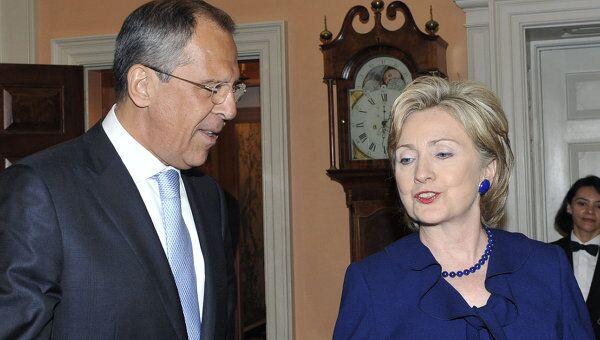 Министр иностранных дел РФ Сергей Лавров и Госсекретарь США Хиллари Клинтон