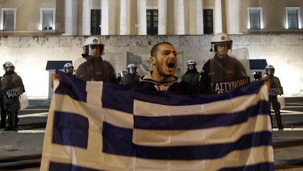 Акция протеста у парламента Греции в Афинах
