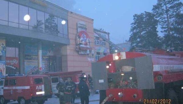 Пожар в торговом центре в Лесосибирске Красноярского края