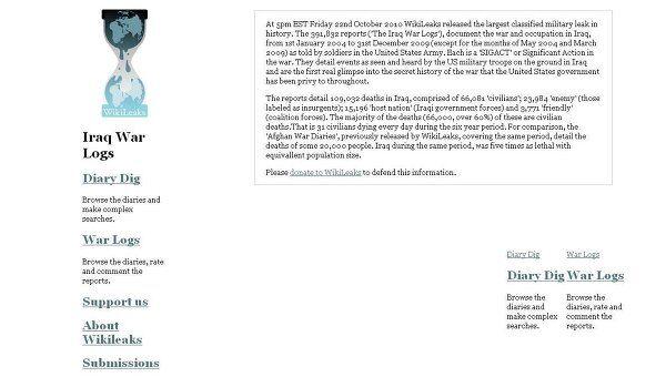 Скриншот страницы сайта WikiLeaks