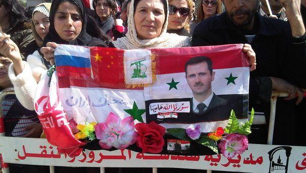 Митинг сторонников Башара Асада в Дамаске