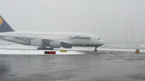 Прилет авиалайнера Lufthansa A380 в аэропорт Внуково