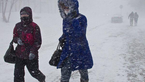 Снежный циклон в Южно-Сахалинске. Архивное фото