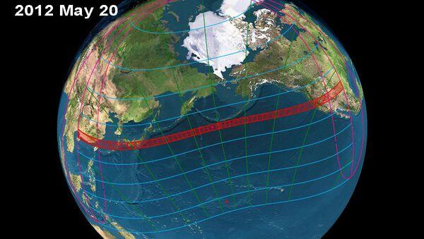 Путь полосы кольцеобразного солнечного затмения 21 мая 2012 года